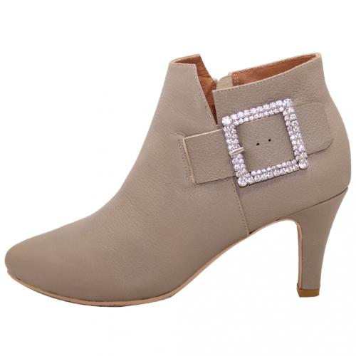 歐美風顯瘦小羊皮方釦細跟短靴