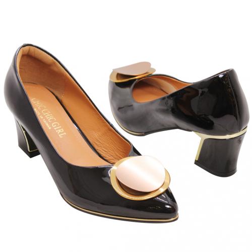 時髦圓釦羊漆皮金屬粗跟鞋