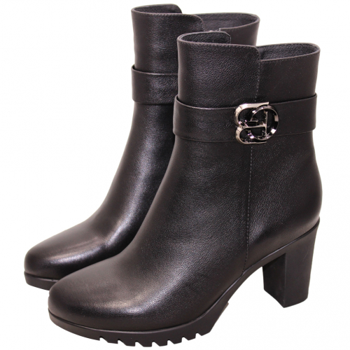 時尚簡約小牛皮高跟氣墊中靴