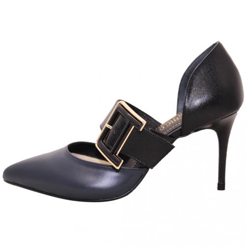 性感方釦小羊皮尖頭高跟鞋