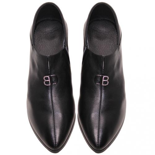2way小牛皮可後踩高跟踝靴