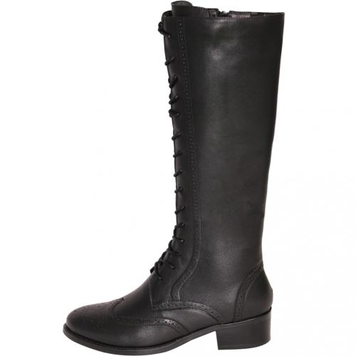 牛津風小牛皮顯瘦馬甲低跟長靴
