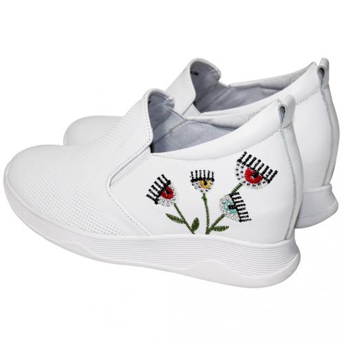 時尚小牛皮眨眼輕量內增高休閒鞋
