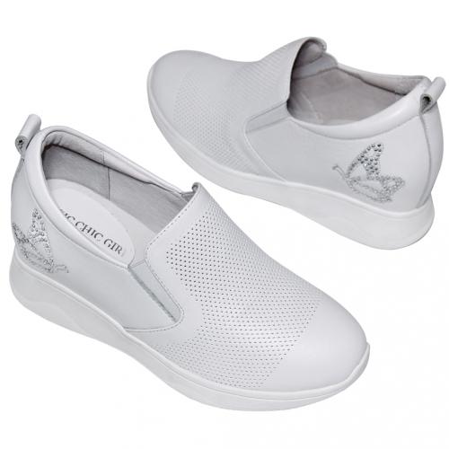 時尚小牛皮蝴蝶輕量內增高休閒鞋