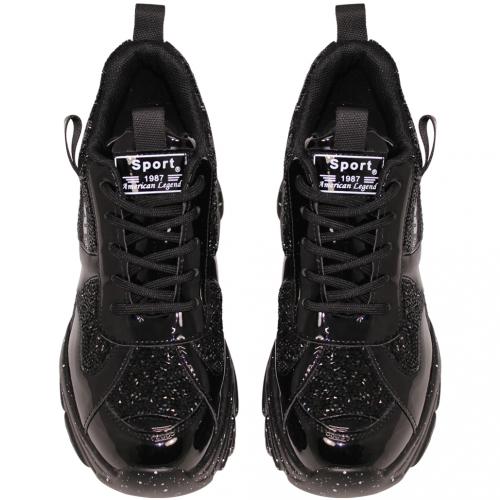 時尚貼鑽羊漆皮增高休閒鞋