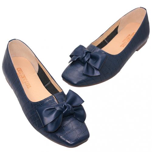 優雅大理石紋小羊皮方頭娃娃鞋