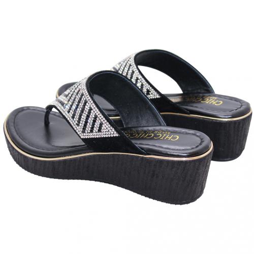 渡假風水鑽小牛皮夾腳楔型鞋