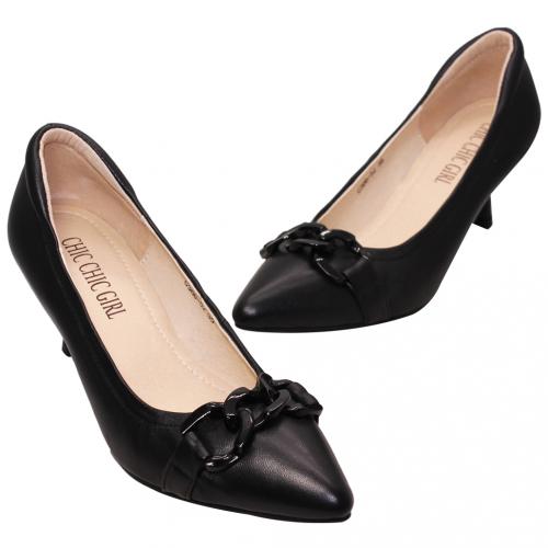 優雅小羊皮鎖鏈釦細跟鞋