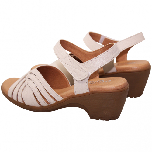 簡約舒適小牛皮低跟休閒涼鞋