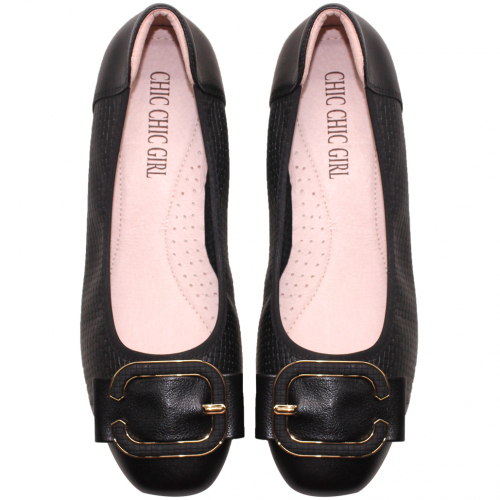 OL通勤款雷雕小羊皮氣墊鞋