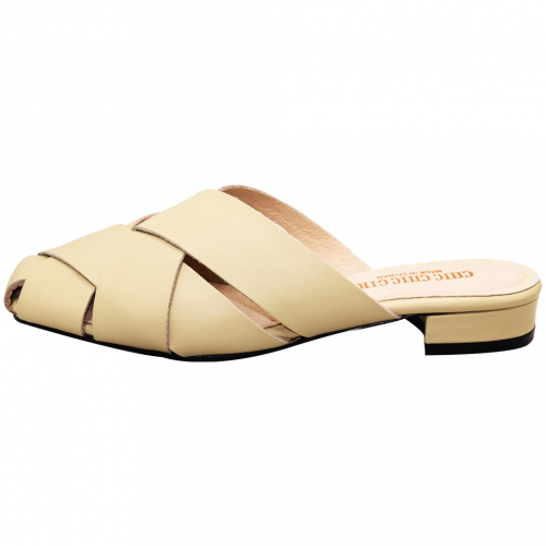 簡約時尚編織小牛皮穆勒鞋