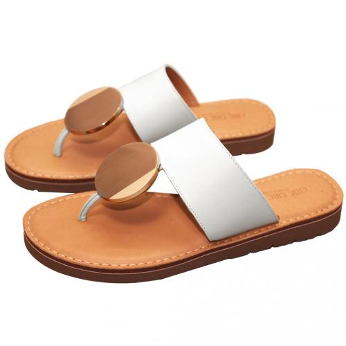 渡假風小牛皮氣墊夾腳涼鞋