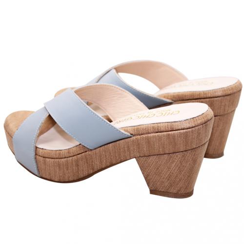 優雅風交叉小牛皮輕量粗跟涼鞋