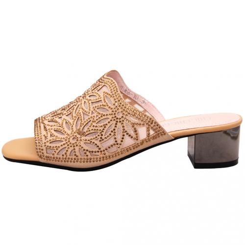 性感小羊皮雷雕水鑽中跟涼鞋
