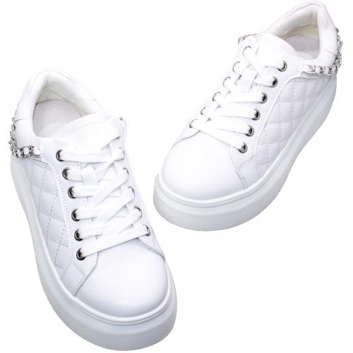 小香風格紋小牛皮鎖鏈輕量厚底鞋