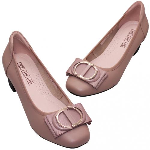 優雅OL款小羊皮方頭中跟鞋