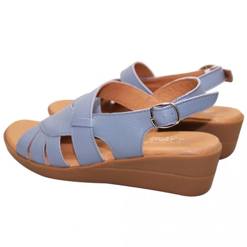 休閒風小牛皮楔型涼鞋