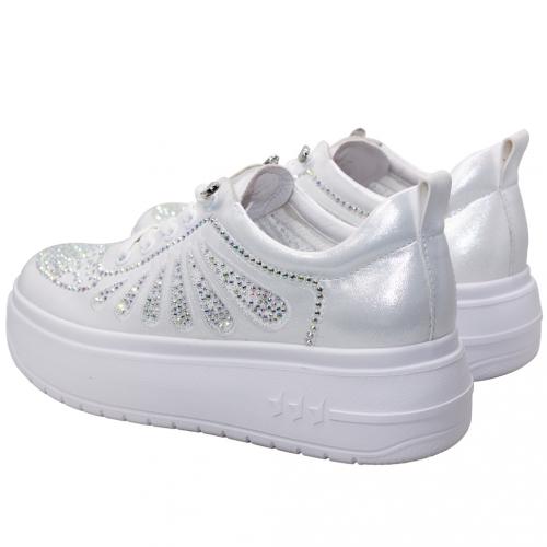 時尚休閒水鑽小羊皮輕量厚底鞋