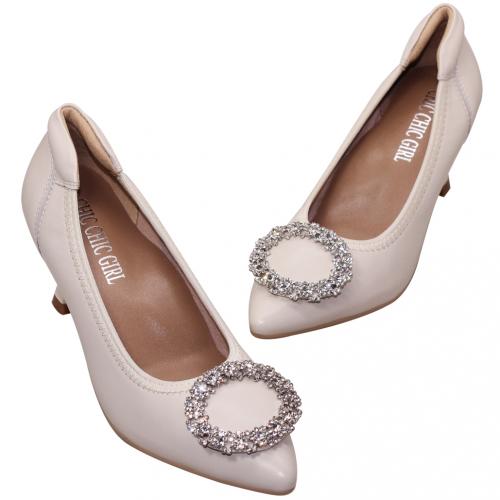優雅水鑽釦小羊皮氣墊跟鞋