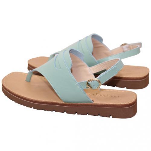 休閒風顯瘦小牛皮氣墊夾腳涼鞋