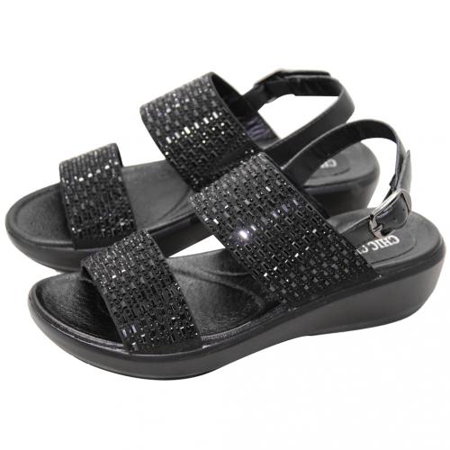休閒風水鑽小牛皮輕量楔型涼鞋