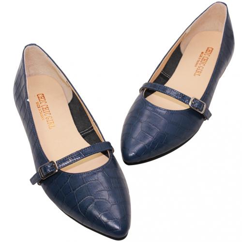 優雅大理石紋小羊皮尖頭瑪莉珍鞋