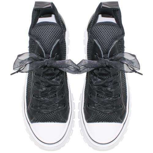 時尚小牛皮透氣網紗厚底休閒鞋