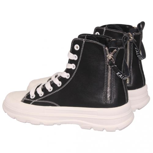 休閒風小牛皮輕量厚底短靴