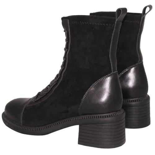 時尚顯瘦小牛皮拼接粗跟短靴