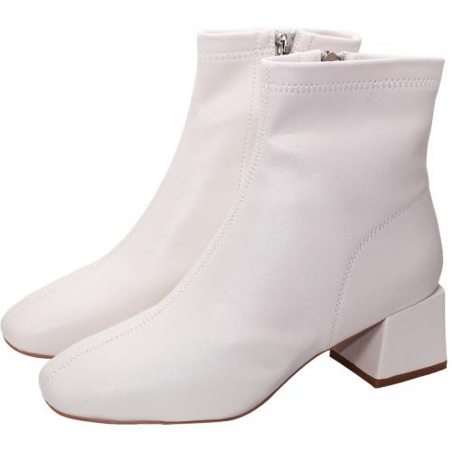 時尚顯瘦素面小牛皮粗跟短靴