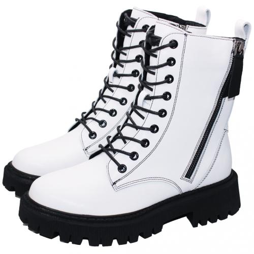 時髦個性風小牛皮厚底軍靴